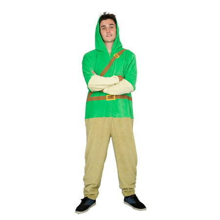 Adult Zip up The Legend of Zelda Link Green Costume Jumpsuit](Link Halloween Costume Zelda)