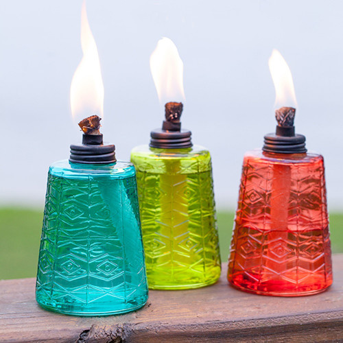TIKI Brand Glass Tabletop Torch Trio