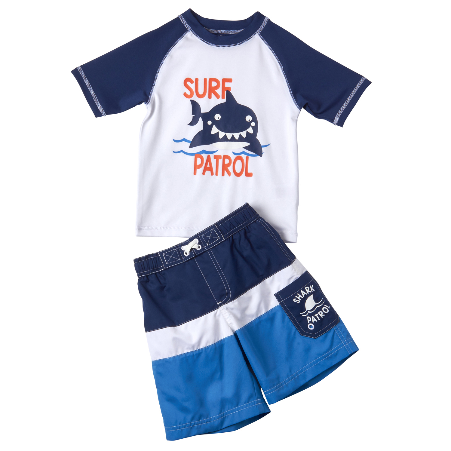 Baby Toddler Boy Shark Rashguard & Swim Trunks, 2pc Set
