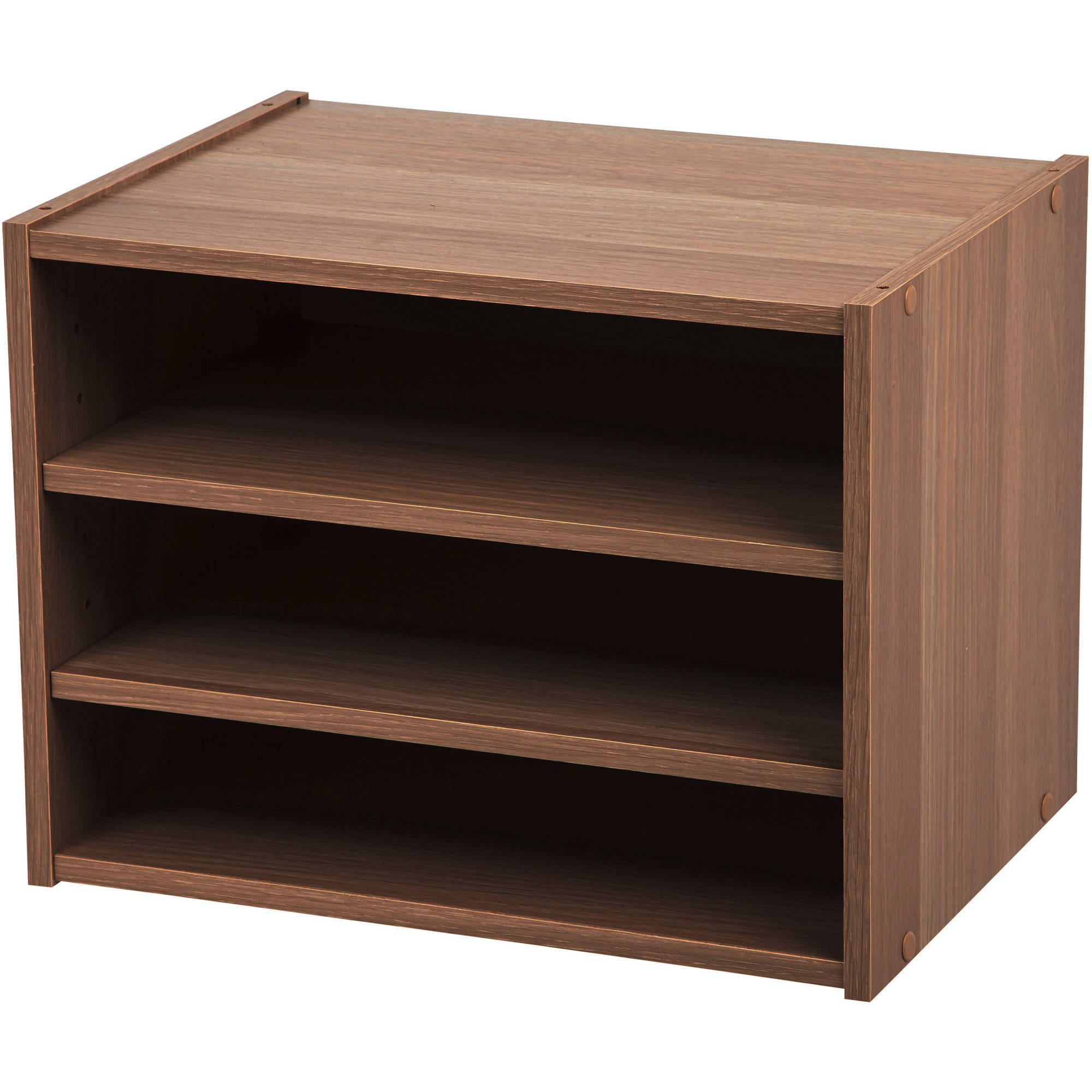 IRIS Stack Box Shelves, Dark Brown