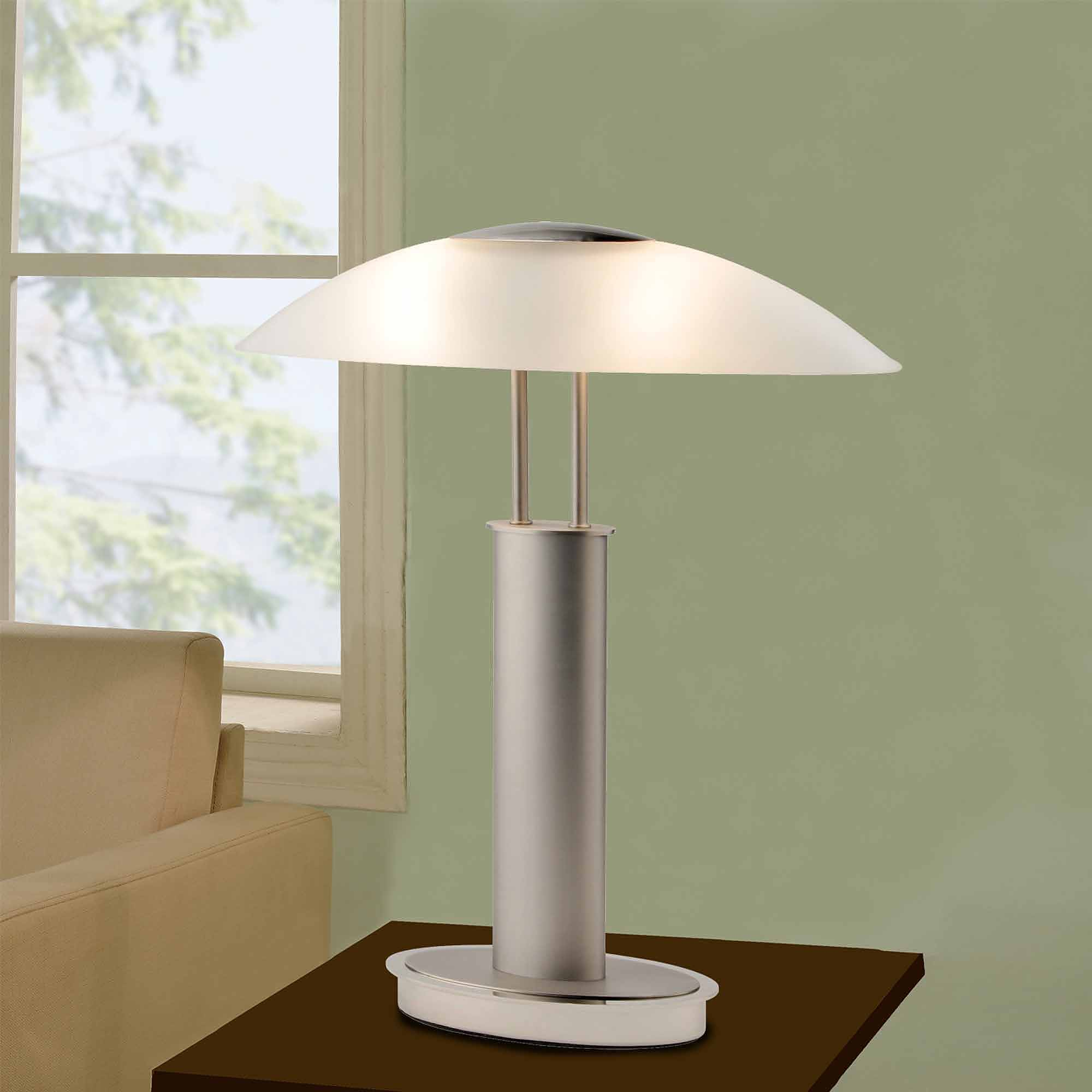 Artiva Usa 18 5 Avalon 2 Light Satin Nickel Touch Desk Lamp With Oval Frosted Gl Shade