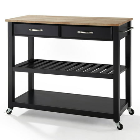 Crosley Furniture Solid Black Granite Top Kitchen Cart with Optional Stool Storage
