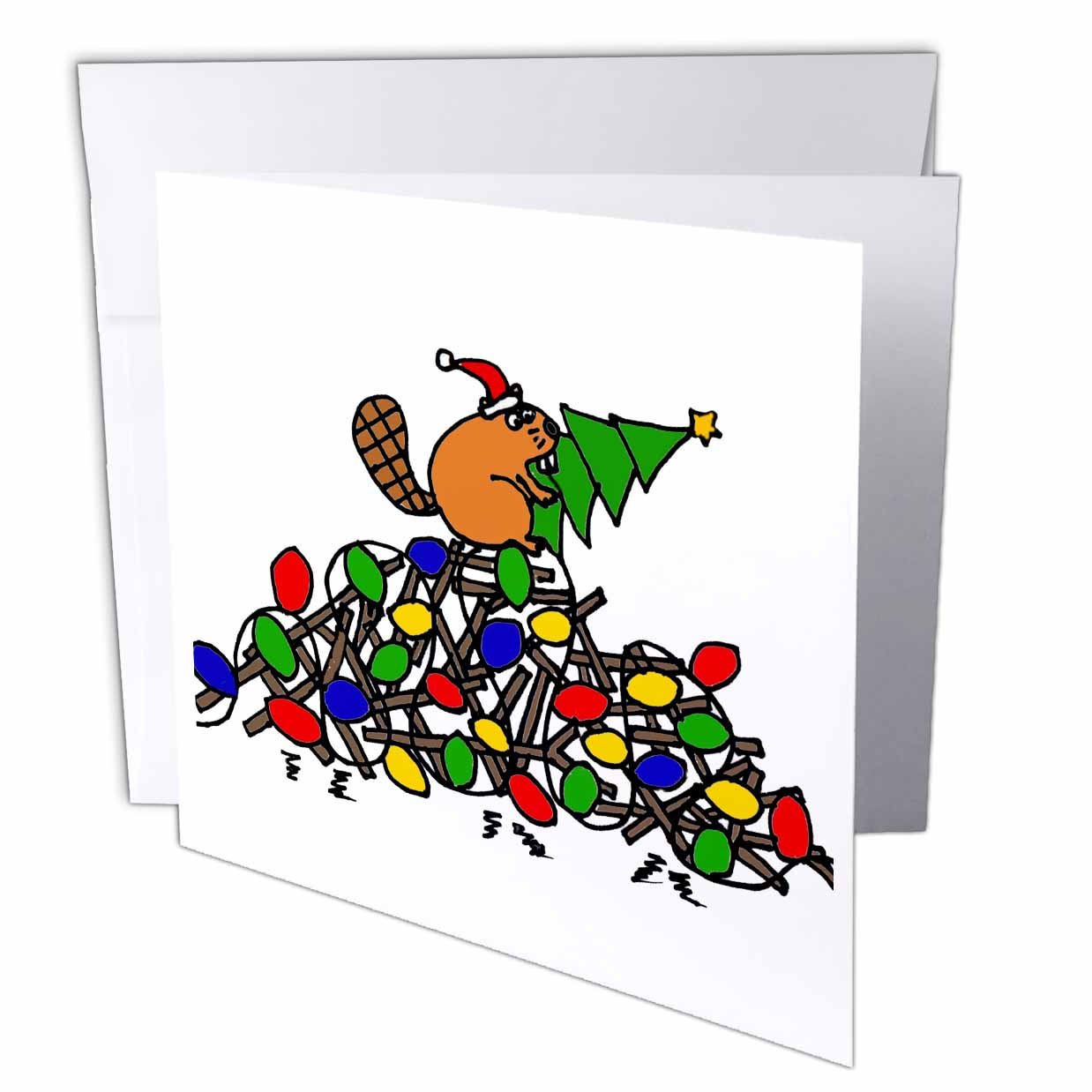 3dRose Funny Beaver on Dam Decorated with Christmas Lights, Greeting Cards, 6 x 6 inches, set of 12