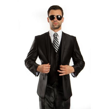 3 Piece Vested Wool Suit (Mens Suit Two Piece Solid Notch Lapel Set With Free Matching Vest )