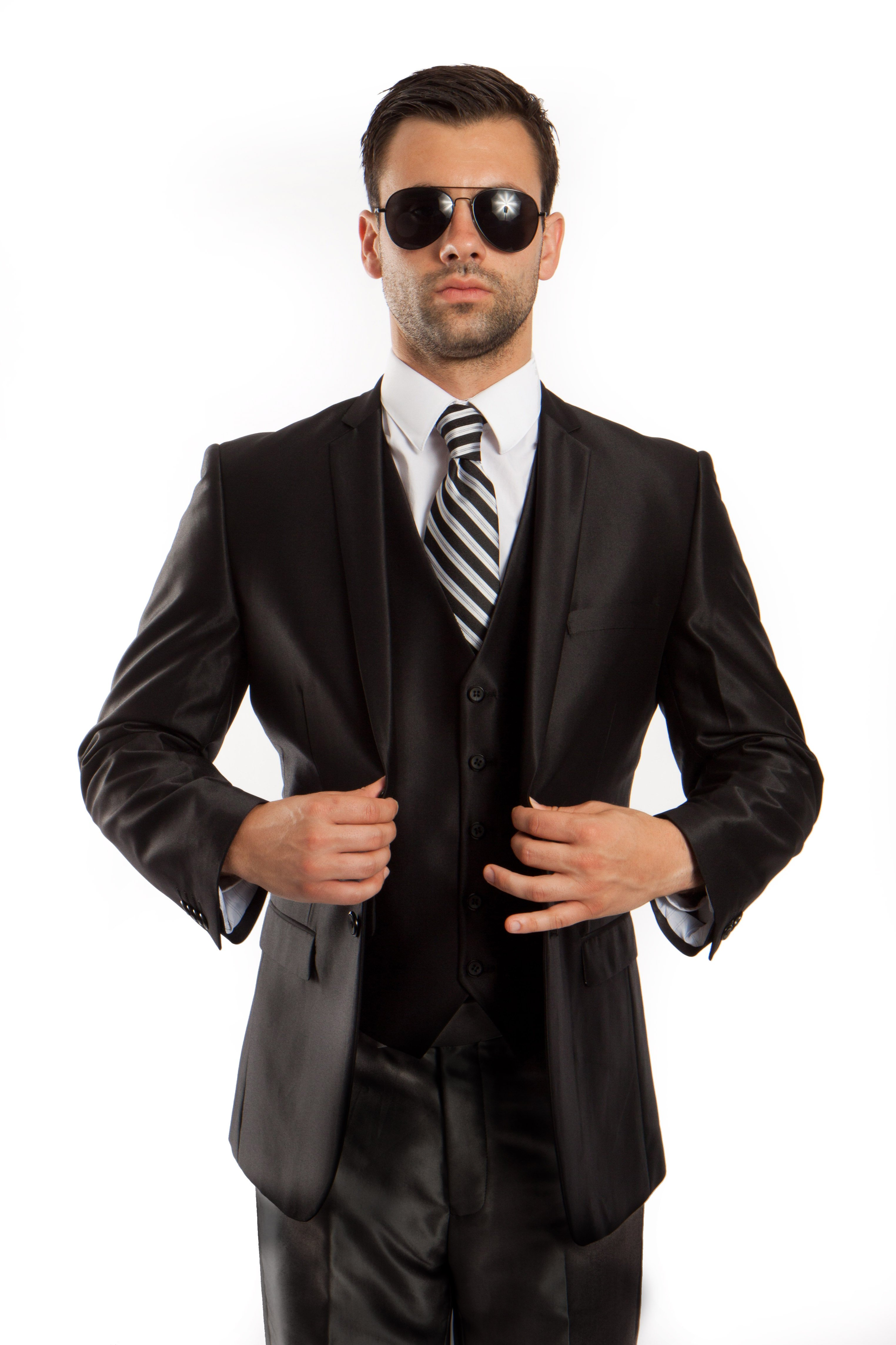 Mens Suit Two Piece Solid Notch Lapel Set With Free Matching Vest