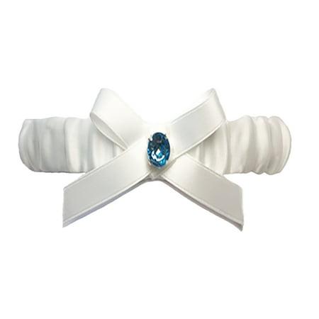 Ivory Wedding Garters (Ivory Satin Bride Wedding Garter with Blue Rhinestone and Bow)