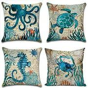 RYLABLUE Set of 4 Pillow Cases Mediterranean Toss Blue Octopus Sea Turtle Hippocampus Crab Bottom World Throw Pillowcase Cover Cushion Case Home Decor