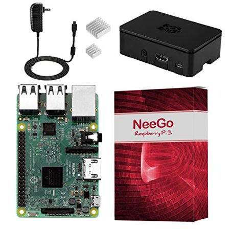NeeGo Raspberry Pi 3 Kit – Pi 3 Model B Barebones Computer Motherboard with 64bit Quad Core CPU & 1GB RAM, Black Pi3 Case, 2.5A Power Supply & Heatsink (Best Motherboard For Core 2 Quad)