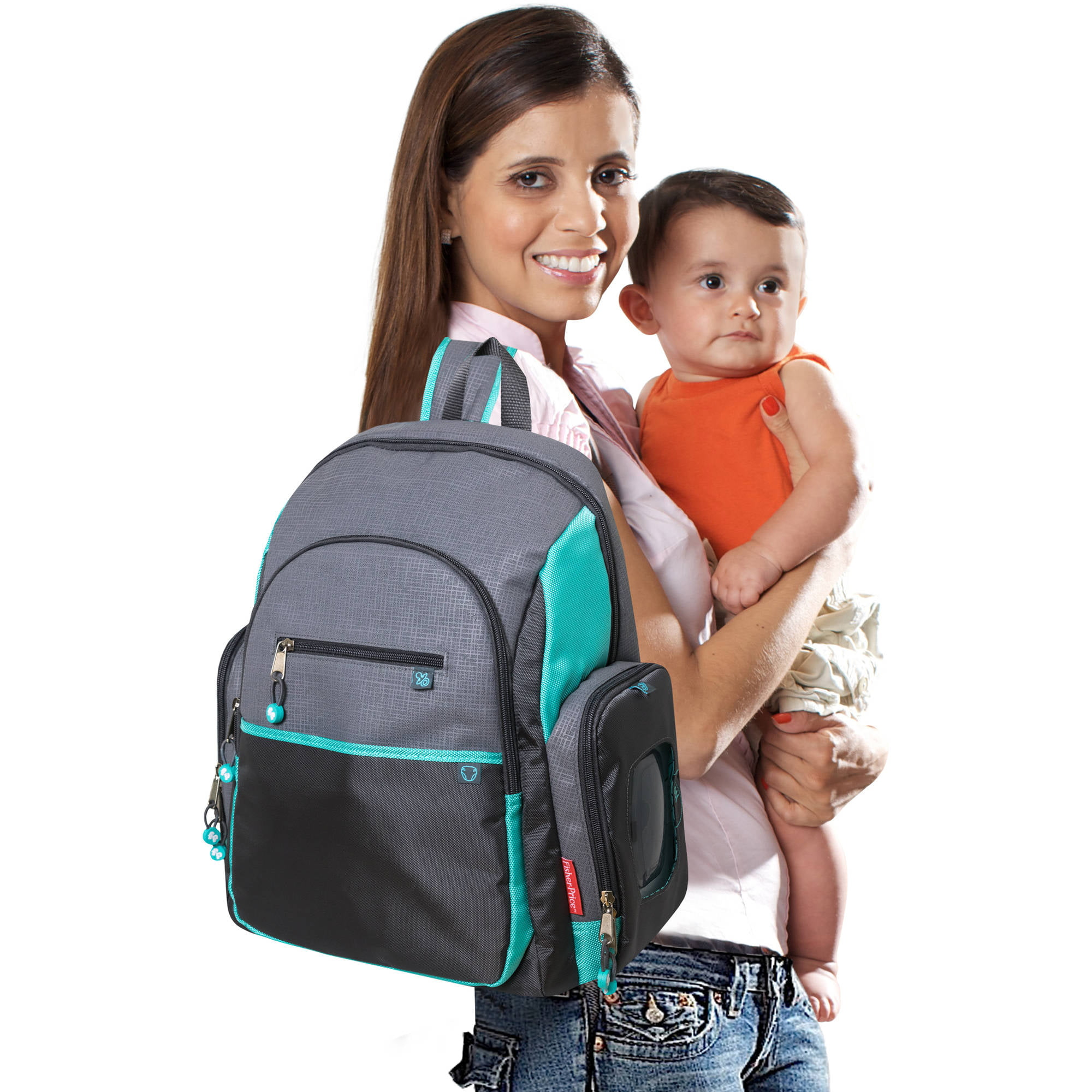 Fisher Price Deluxe Backpack Diaper Bag Gray and Teal Walmart