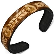 Brown Tan Leather Engraved Cuff Bangle Womens Adjustable Bracelet