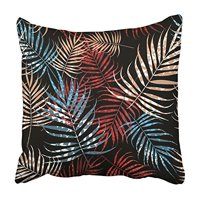 USART Colorful Frond Multicolor Palm Tree Foliage with on Black Green Tropical Bamboo Pillowcase Cushion Cover 18x18 inch