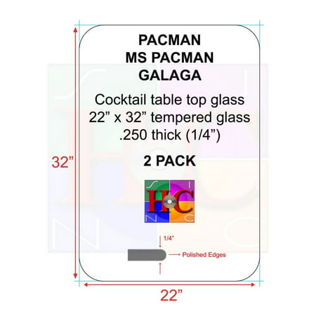 2-Pack Tinted cocktail table top glass with 3.5 in radius: Fits Bally Midway tables plus after market arcade cocktail (Radius Table Assembly)