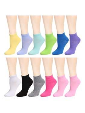 12 Pairs Assorted Colors Women's Ankle Socks Size 9-11 12 Assorted