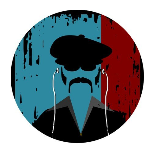 MKHERT Abstract Man Face with Hat and Mustache Round Mousepad Mat For Mouse Mice Size 7.87x7.87 inches