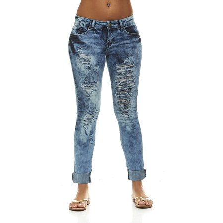 b59f42bb6df V.I.P.JEANS - V.I.P.JEANS Ripped Distressed Washed Skinny Stretch Jeans For  Women Junior or Plus Sizes - Walmart.com