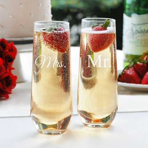 Cathys Concepts Mr. & Mrs. Stemless Champagne Toasting Flutes