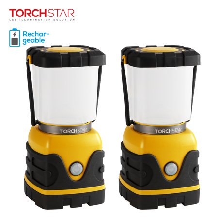 TORCHSTAR 2 Pack Rechargeable LED Camping Lantern, 4-level Dimmable Camping Lantern, Outdoor USB Port Camping Light Lamp, Hiking Lightweight Lighting,