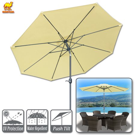 Strong Camel Patio Umbrella 10' with Tilt and Crank 8 Ribs Outdoor Garden Market Parasol Sunshade in Beige