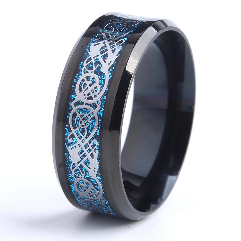 Mens Ring STEEL FACE BLACK DRAGON BLUE CARBON FIBER size 8 9 10 11 12 13