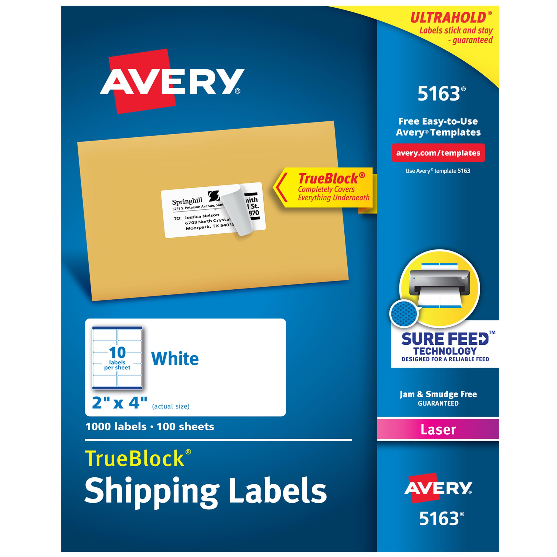 Avery Shipping Address Labels, Laser Printers, 1,000 Labels, 2x4 Labels, Permanent Adhesive, TrueBlock (5163)