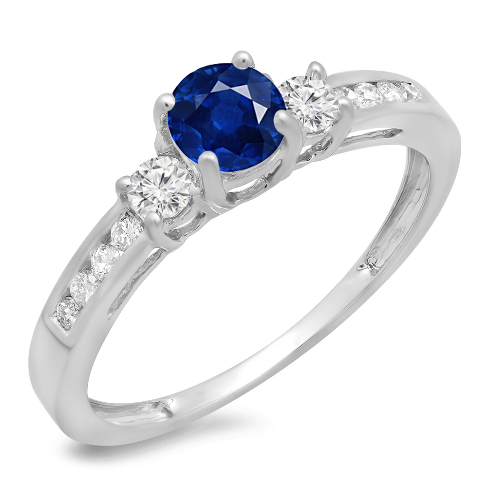 14K Gold Round Cut Blue Sapphire & White Diamond Bridal 3 Stone Engagement Ring