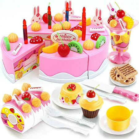 Birthday Cake Play Food Set PINK 75Pcs Plastic Kitchen Cutting Toy Pretend -
