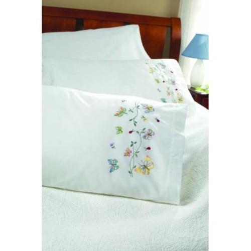 Bucilla Butterflies In Flight Stamped Embroidery Pillowcase Pair, 45076 20 by 30-Inch [Butterflies in Flight]