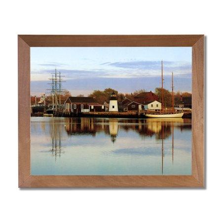 Ocean Lighthouse Lake Sailboat Landscape Wall Picture Honey Framed Art Print
