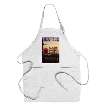 Seattle  Washington   Pike Place Market Sign   Water   Lantern Press Artwork  Cotton Polyester Chefs Apron