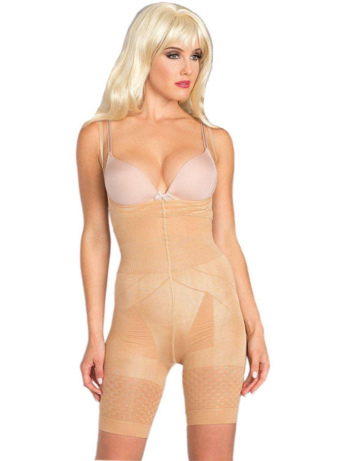 Seamless tummy control high waist body shaper blacknude slip half dress panty