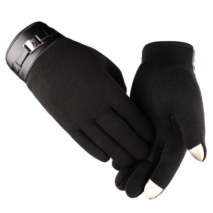 Touch Screen Black Leather Gloves Full Finger Mens Winter Warm Thermal Gloves