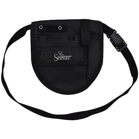Secure 7-Pocket Nurse Medical Organizer Apron / Belt / Pouch, Black - One Year Warranty