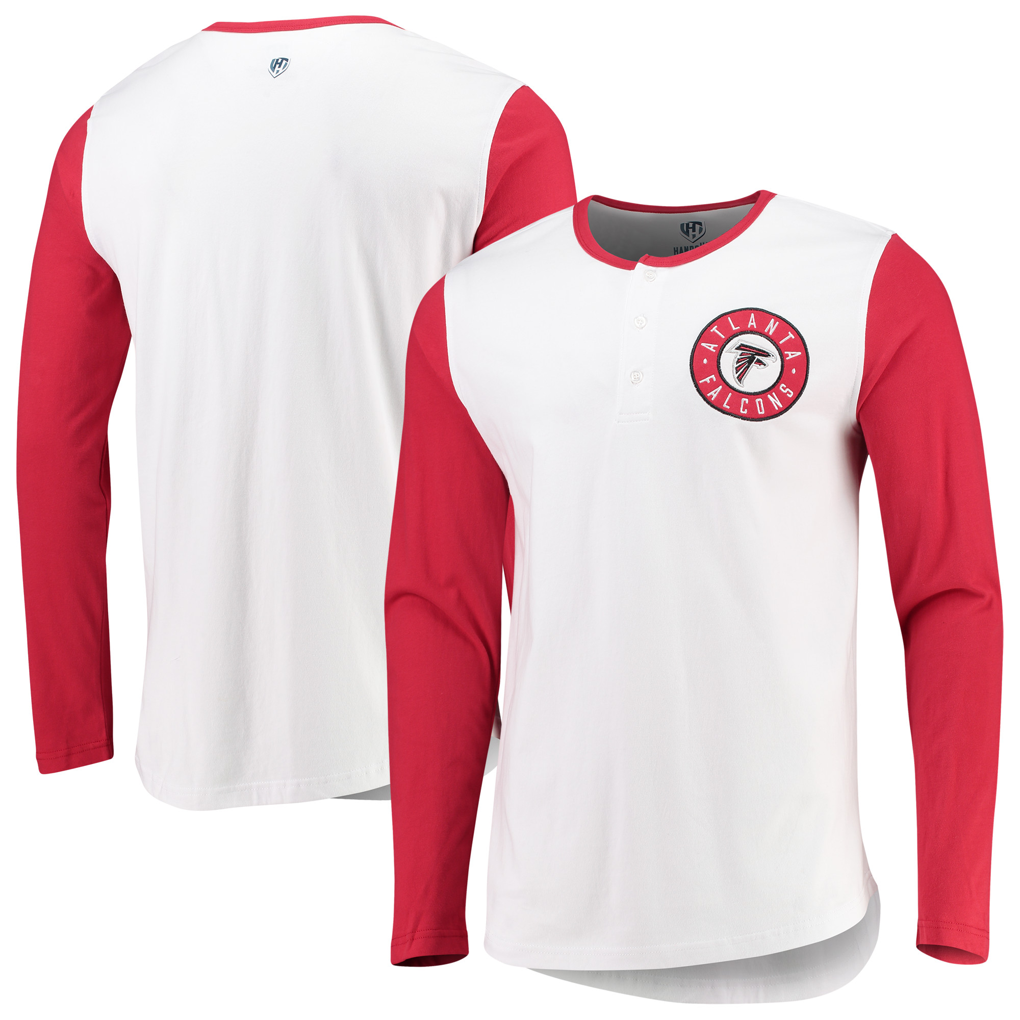 Atlanta Falcons G-III Sports by Carl Banks Tradition Henley Long Sleeve T-Shirt - White/Red
