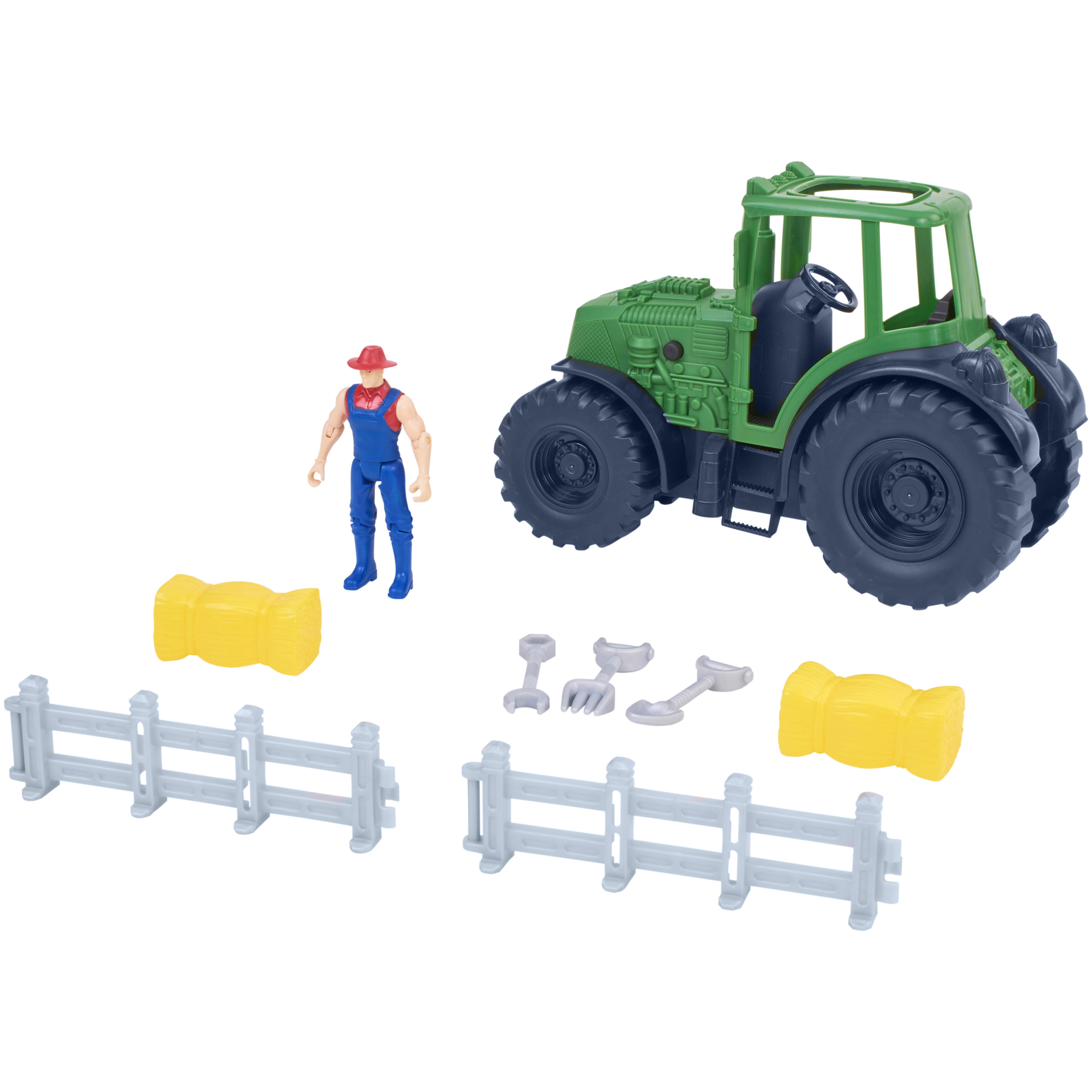 Kid Connection 9-Piece Light & Sound Farm Tractor Play Set, Green