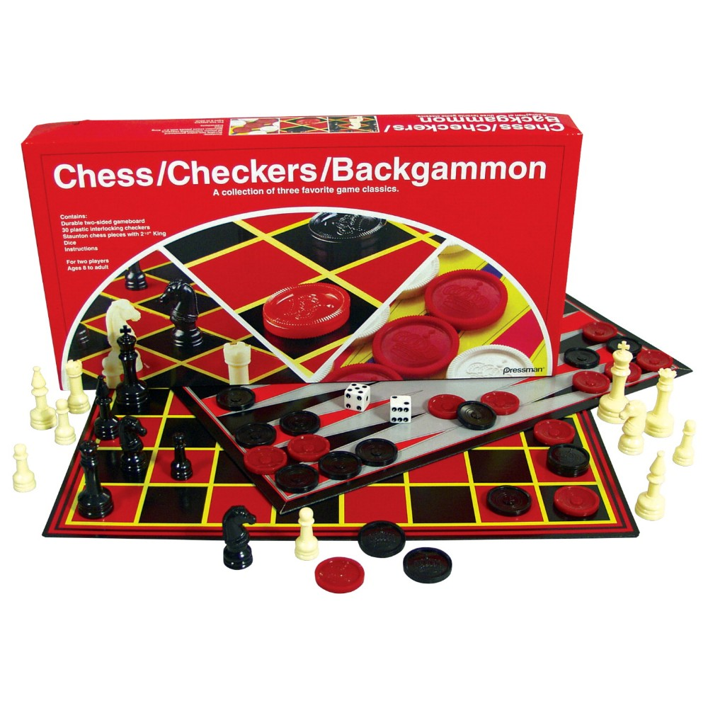 PRESSMAN 034-3060 Chess, Checkers, And Backgammon Multi-Game Classic Set by Pressman