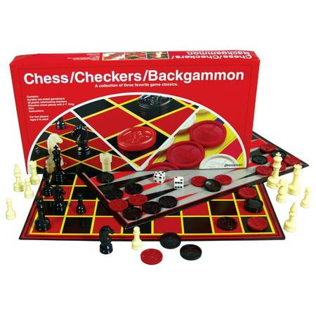 Metal Backgammon Checkers - PRESSMAN 034-3060 Chess, Checkers, And Backgammon Multi-Game Classic Set