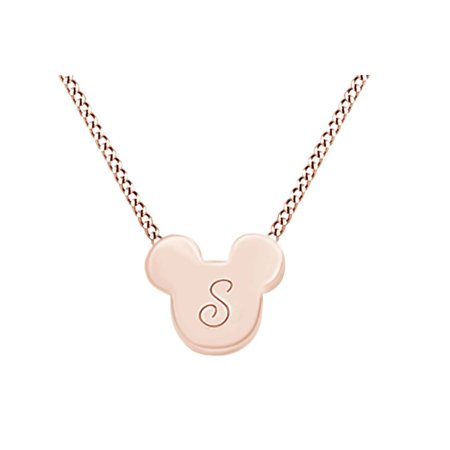 "14k Rose Gold Over Sterling Silver Initial ""S"" Micky Mouse Pendant Necklace"