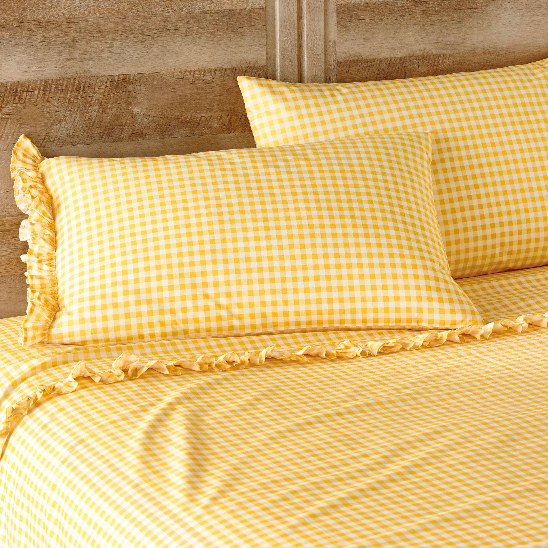 The Pioneer Woman Gingham Yellow Ruffle Twin Sheet Set
