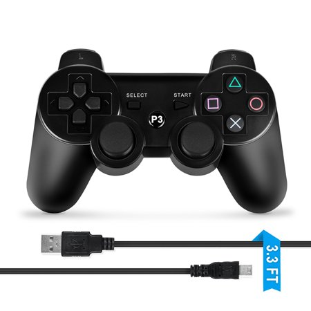 ABLEGRID Wireless Bluetooth Game Controller for Sony PS3 Black (Ps3 Controller Rainbow)
