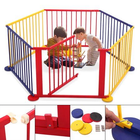 Jaxpety Wood Baby Playpen 6 Panel Kids Safety Play Center Portable Playard Home Indoor Outdoor Fence