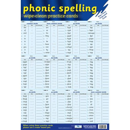 Phonic Spelling Practice Cards Poster - 16x24