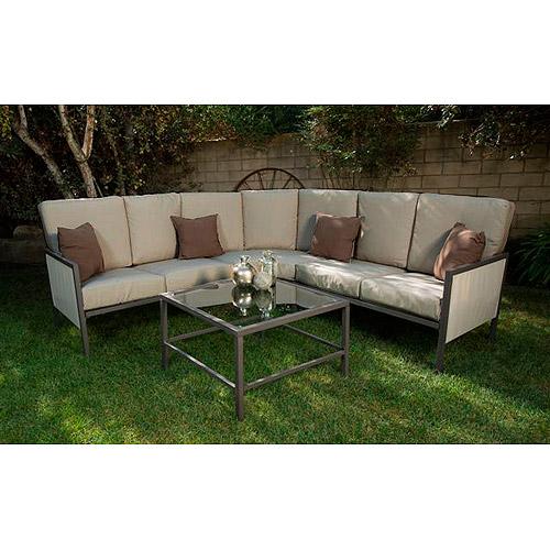 Soho 4-Piece Outdoor Sectional Sofa, Seats 5