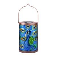 Better Homes & Gardens Peacock Solar Powered type Outdoor decor Glass LED Lantern