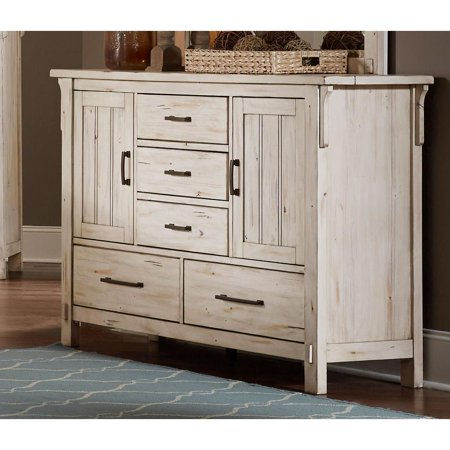 Distressed Wooden Dresser With 5 Drawers, Antique White ()