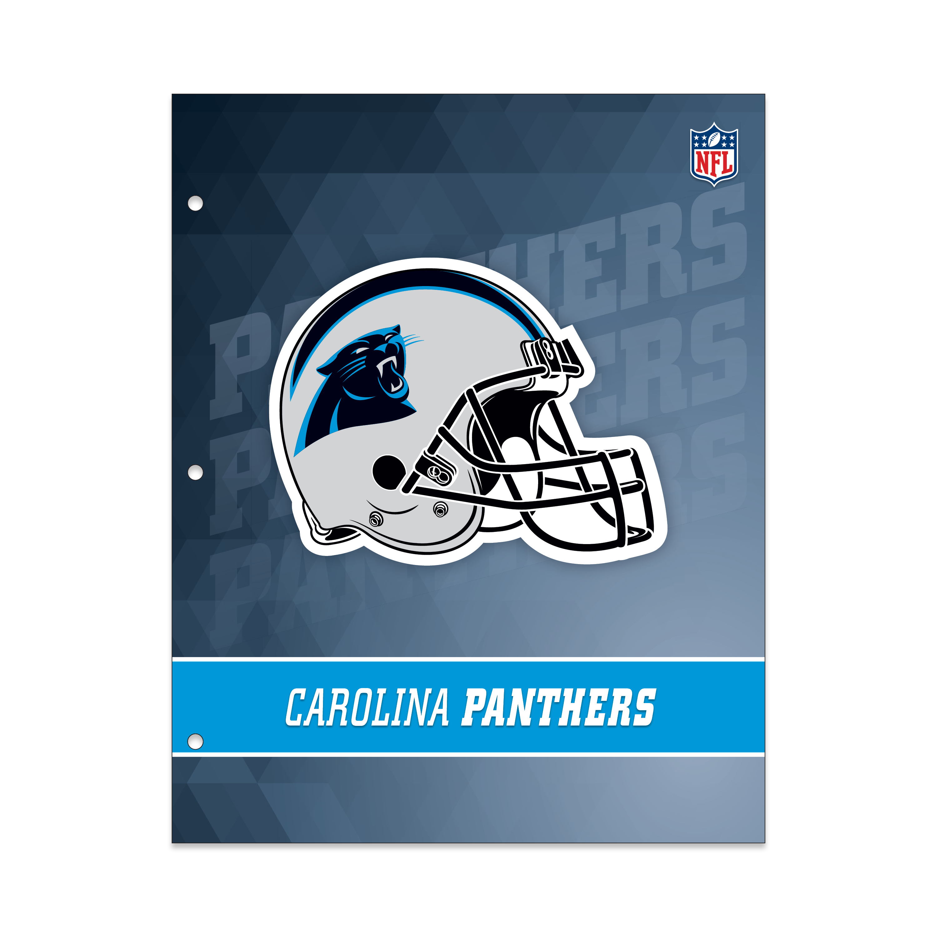 NFL Carolina Panthers 2 Pocket Portfolio, Three Hole Punched, Fits Letter Size