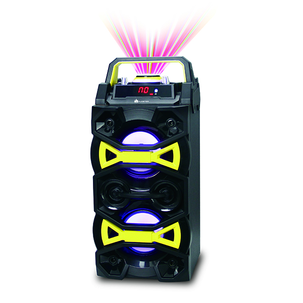 Audster AUD-C201 Portable Wireless Bluetooth Rechargeable Speaker with LED Lights, FM Radio and USB/AUX/TF Card Input (Yellow)
