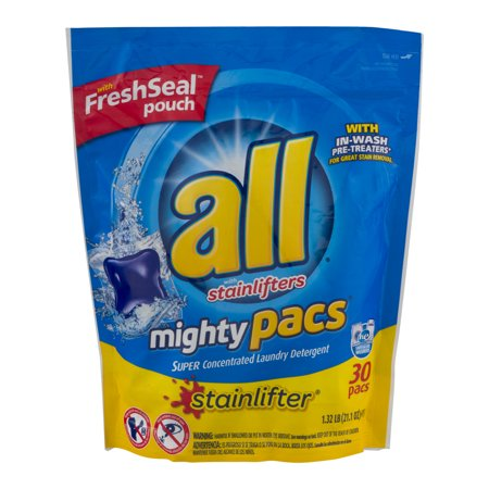 All Mighty Pacs Stainlifter Super Concentrated Laundry Detergent Pacs  30 Ct  21 1 Oz