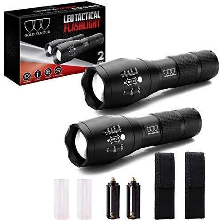 2 PACK LED Tactical Flashlight - High Lumen, Zoomable, 5 Modes, Water Resistant, Handheld Light with Holster - Best Camping, Outdoor, Emergency, Hurricane Everyday Flashlights (2Pack A1000) 2Pack