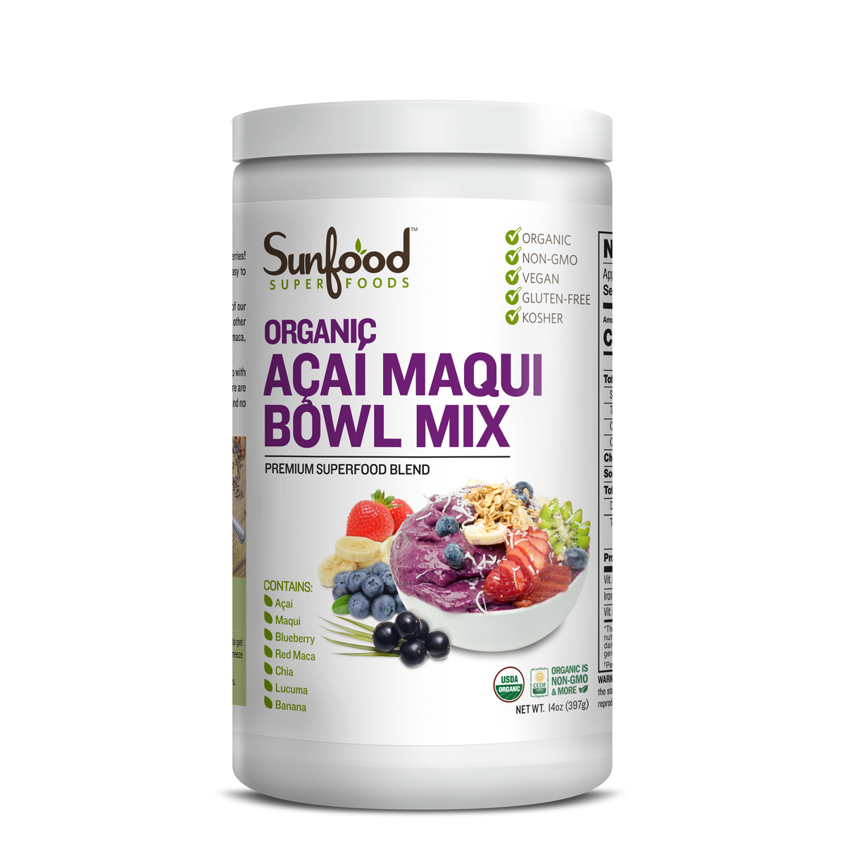 Sunfood Superfoods Organic Acai Maqui Bowl Powder, 14.0 Oz