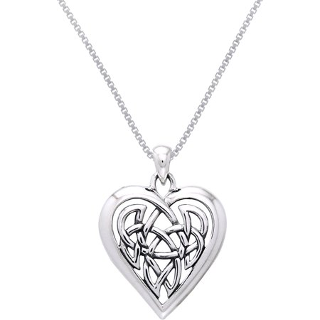Sterling Silver Celtic Knot Eternal Heart Pendant on 18 Inch Box Chain Necklace